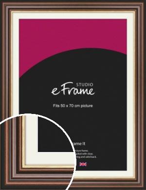 Grooved Brown Picture Frame & Mount, 50x70cm (VRMP-935-M-50x70cm)