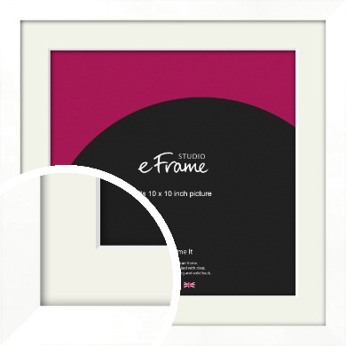 Classic Flat White Picture Frame & Mount, 10x10