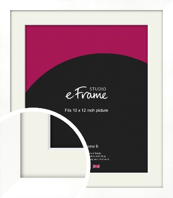 Classic Flat White Picture Frame & Mount, 10x12