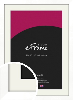 Classic Flat White Picture Frame & Mount, 10x15