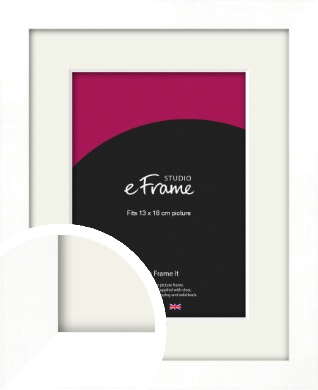Classic Flat White Picture Frame & Mount, 13x18cm (5x7