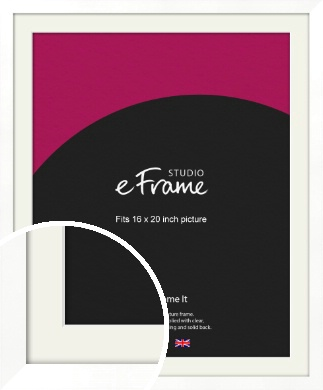 Classic Flat White Picture Frame & Mount, 16x20