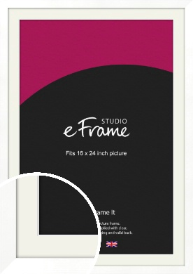 Classic Flat White Picture Frame & Mount, 16x24