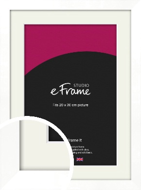 Classic Flat White Picture Frame & Mount, 20x30cm (8x12