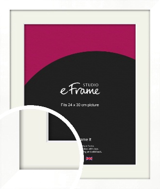 Classic Flat White Picture Frame & Mount, 24x30cm (VRMP-511-M-24x30cm)