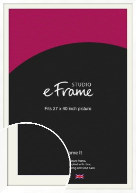 Classic Flat White Picture Frame & Mount, 27x40