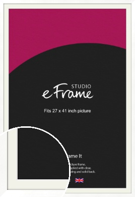Classic Flat White Picture Frame & Mount, 27x41