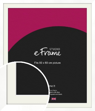 Classic Flat White Picture Frame & Mount, 50x60cm (VRMP-511-M-50x60cm)