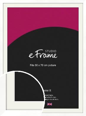 Classic Flat White Picture Frame & Mount, 50x70cm (VRMP-511-M-50x70cm)