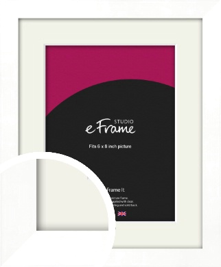 Classic Flat White Picture Frame & Mount, 6x8