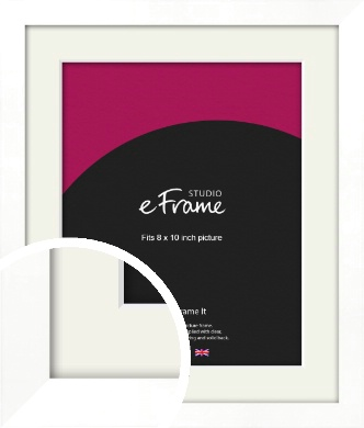 Classic Flat White Picture Frame & Mount, 8x10