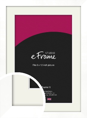Classic Flat White Picture Frame & Mount, 8x12