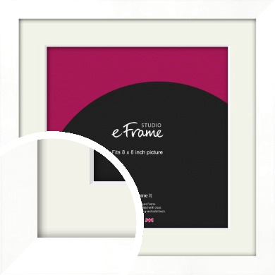 Classic Flat White Picture Frame & Mount, 8x8