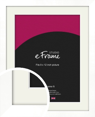 Classic Flat White Picture Frame & Mount, 9x12