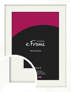 Classic Flat White Picture Frame & Mount, A4 (210x297mm) (VRMP-511-M-A4)