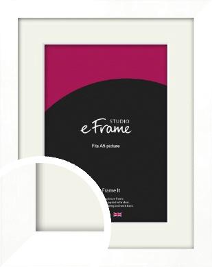 Classic Flat White Picture Frame & Mount, A5 (148x210mm) (VRMP-511-M-A5)