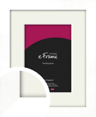 Classic Flat White Picture Frame & Mount, A6 (105x148mm) (VRMP-511-M-A6)