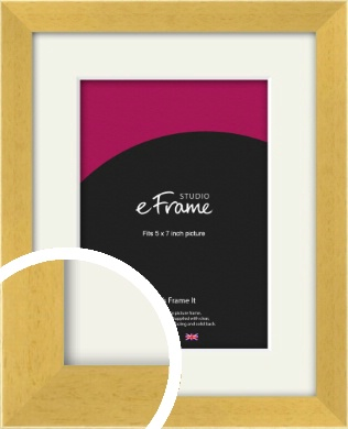 Scandi Natural Wood Picture Frame & Mount, 5x7