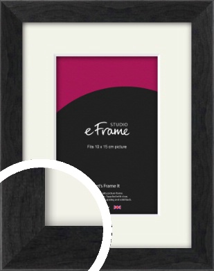 Faded Black Picture Frame & Mount, 10x15cm (4x6