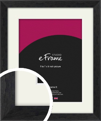 Faded Black Picture Frame & Mount, 7x9
