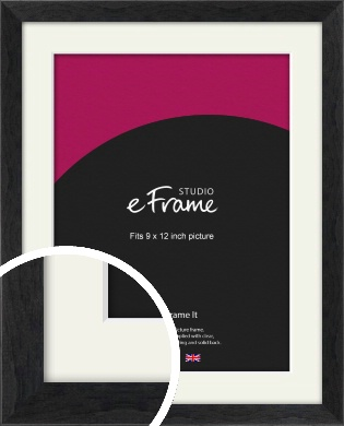 Faded Black Picture Frame & Mount, 9x12