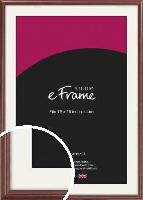 Quaint Cherry Brown Picture Frame & Mount, 12x18