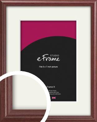 Quaint Cherry Brown Picture Frame & Mount, 5x7