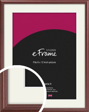 Quaint Cherry Brown Picture Frame & Mount, 9x12