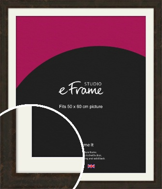 Curved Aged Brown Picture Frame & Mount, 50x60cm (VRMP-948-M-50x60cm)