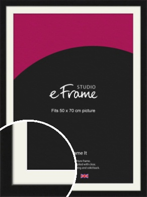 Extra Deep Gallery Black Picture Frame & Mount, 50x70cm (VRMP-950-M-50x70cm)