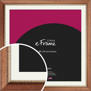 Country Themed Brown Picture Frame & Mount, 50x50cm (VRMP-314-M-50x50cm)