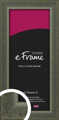 Stained Olive Green Picture Frame, 4x10
