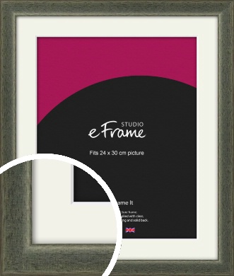 Stained Olive Green Picture Frame & Mount, 24x30cm (VRMP-343-M-24x30cm)