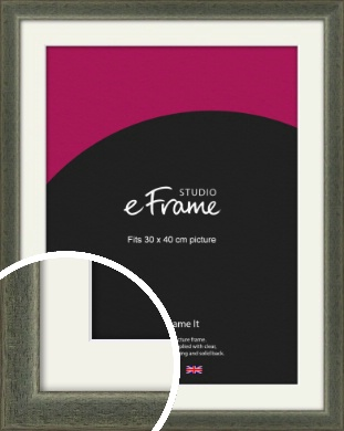 Stained Olive Green Picture Frame & Mount, 30x40cm (VRMP-343-M-30x40cm)