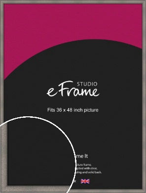 Curved Graphite Silver Picture Frame, 36x48