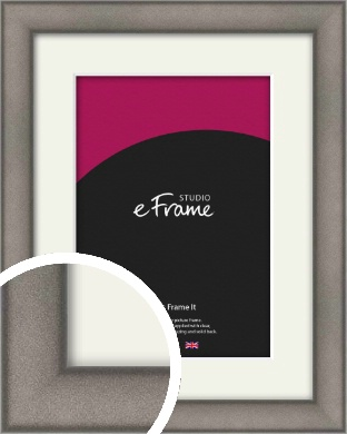 Curved Graphite Silver Picture Frame & Mount (VRMP-586-M)