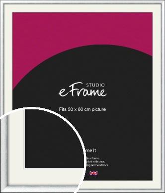 Curved Bevel Silver Picture Frame & Mount, 50x60cm (VRMP-A052-M-50x60cm)
