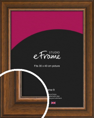 Traditional Walnut Effect Brown Picture Frame, 30x40cm (VRMP-969-30x40cm)