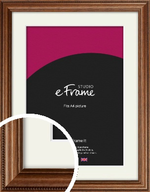 Carved Beaded Edge Brown Picture Frame & Mount, A4 (210x297mm) (VRMP-297-M-A4)