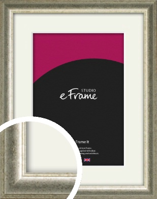 Traditional Tinted Leaf Silver Picture Frame & Mount (VRMP-983-M)