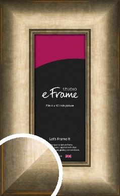 Wide Dark Burnished Bronze / Copper Picture Frame, 4x10