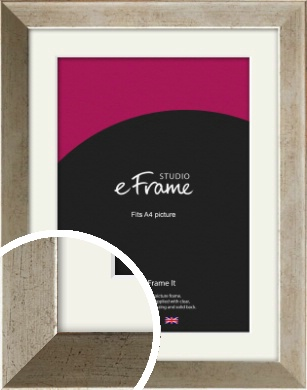 Nickel Effect Silver Picture Frame & Mount, A4 (210x297mm) (VRMP-183-M-A4)