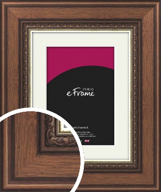 Wide Traditional Pattern Brown Picture Frame & Mount (VRMP-325-M)