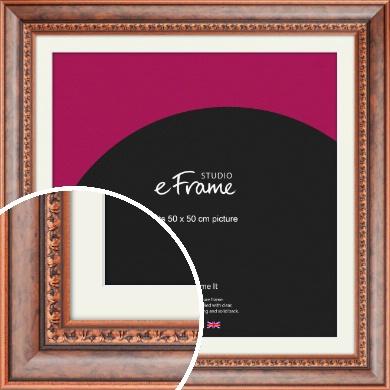 Patterned Rich Burl Brown Picture Frame & Mount, 50x50cm (VRMP-178-M-50x50cm)