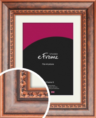 Patterned Rich Burl Brown Picture Frame & Mount, A4 (210x297mm) (VRMP-178-M-A4)