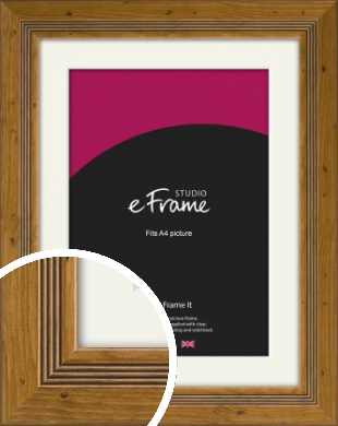 Wide Rustic With Inner Channels Brown Picture Frame & Mount, A4 (210x297mm) (VRMP-1023-M-A4)