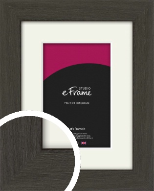 Washed Black Picture Frame & Mount, 4x6