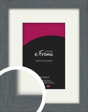 Open Grain Mid Grey Picture Frame & Mount, 10x15cm (4x6