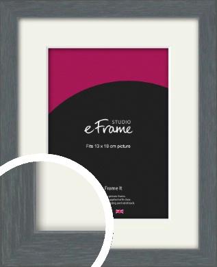 Open Grain Mid Grey Picture Frame & Mount, 13x18cm (5x7