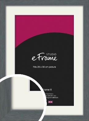 Open Grain Mid Grey Picture Frame & Mount, 20x30cm (8x12